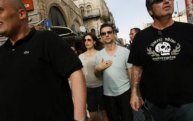 Depeche Mode singer Dave Gahan touring the Old City of Jerusalem in 2009 (photo credit: Miriam Alster/Flash90)
