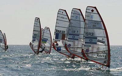 Illustrative photo of windsurfers participating in an international competition in Tel Aviv on June 14, 2009 (photo credit: Boaz Oppenheim/Flash90)