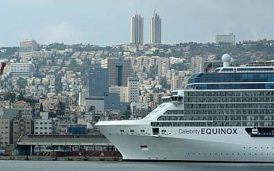 A cruise ship in the Haifa port (illustrative photo credit: Moshe Shai/Flash90)