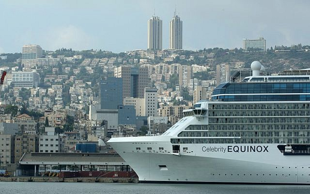 A cruise ship in the Haifa port (illustrative photo credit: Moshe Shai/Flash90)