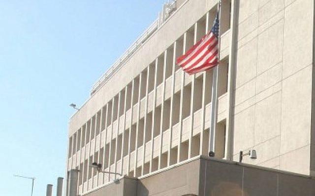 The US Embassy building in Tel Aviv. (photo credit: Roni Schutzer/Flash90)