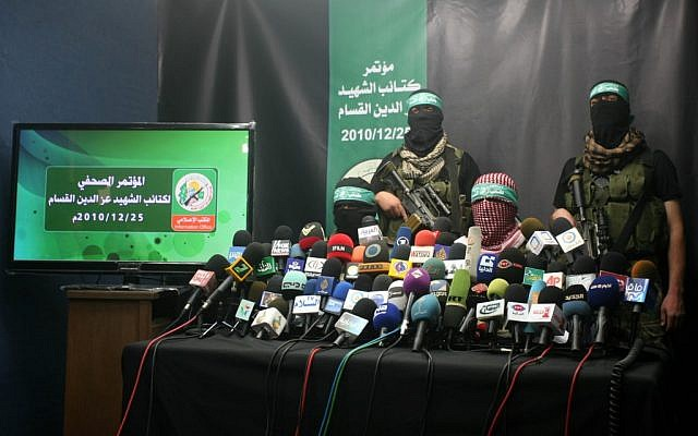 Members of Al-Qassam Brigades give a press conference in Gaza, December 2010 (photo credit: Mohammed Othman / Flash90)