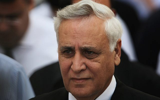 Former president Moshe Katsav walks out of the Supreme Court in Jerusalem in November 2011. (Kobi Gideon/Flash90)