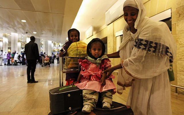 Newly arrived Ethiopian immigrants at Ben-Gurion International Airport in 2011 (photo credit: Kobi Gideon/Flash90)