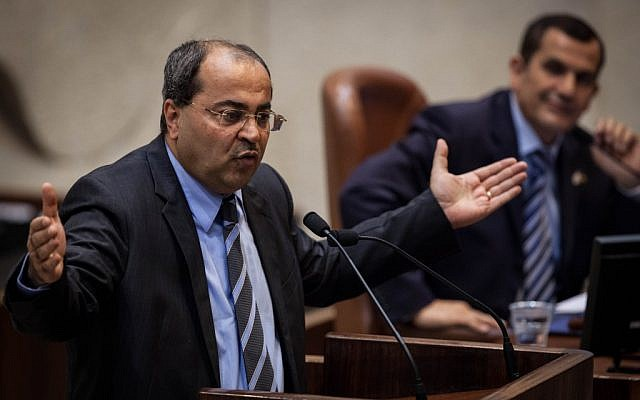 Ahmad Tibi addresses the Knesset on May 21, 2012.  (photo credit: Uri Lenz/Flash90)