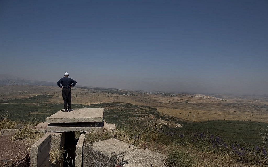 A Druze resident of the Golan Heights looks out onto Syria in July 2012 (photo credit: Tsafrir Abayov/Flash90)