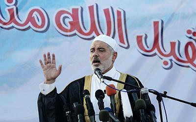 Ismail Haniyeh speaks to a crowd in Gaza, August 19 (photo credit: Abed Rahim Khatib/Flash 90)