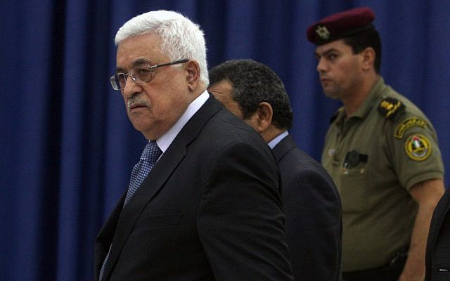 Mahmoud Abbas attends a meeting of the Palestinian leadership in Ramallah, September 15 (photo credit: Issam Rimawi/flash90)