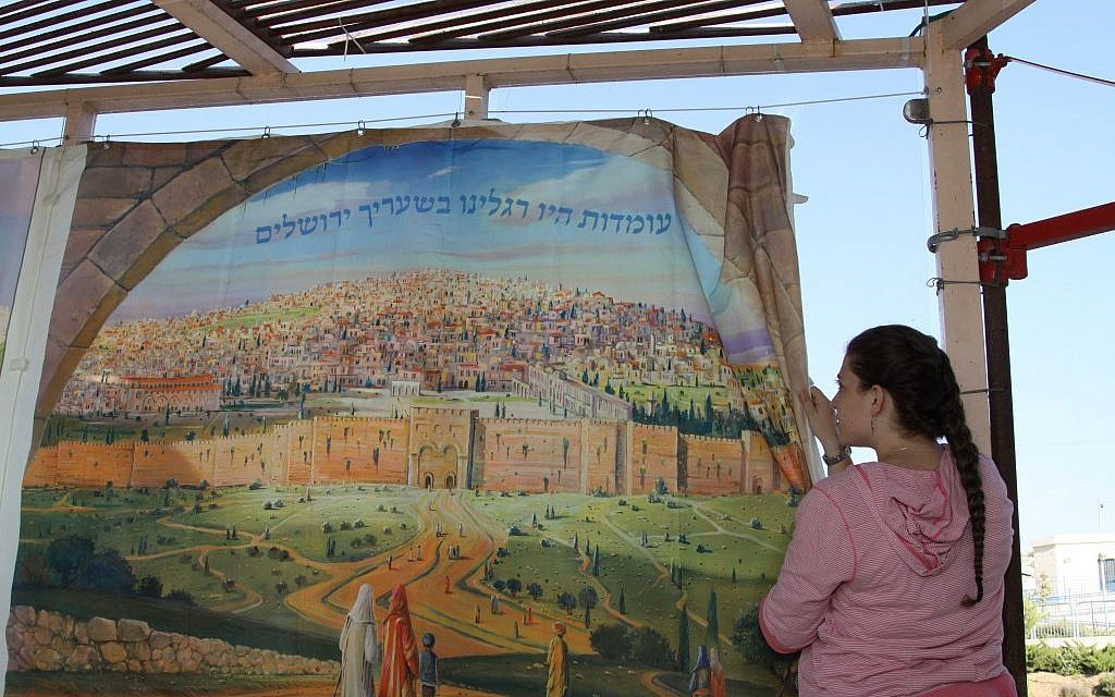A painted panel of a sukkah in Efrat (photo credit: Gershon Ellinson/Flash 90)