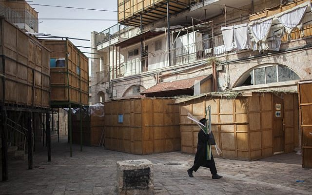 Sukkahs in the ultra-Orthodox Jerusalem neighborhood of Mea Shearim. (photo credit:  Yonatan Sindel/Flash90)