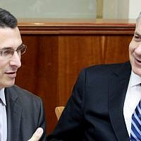 Then-education minister Gideon Sa'ar, left, with Prime Minister Benjamin Netanyahu at a 2012 cabinet meeting. (photo credit: Marc Israel Sellem/Flash90).
