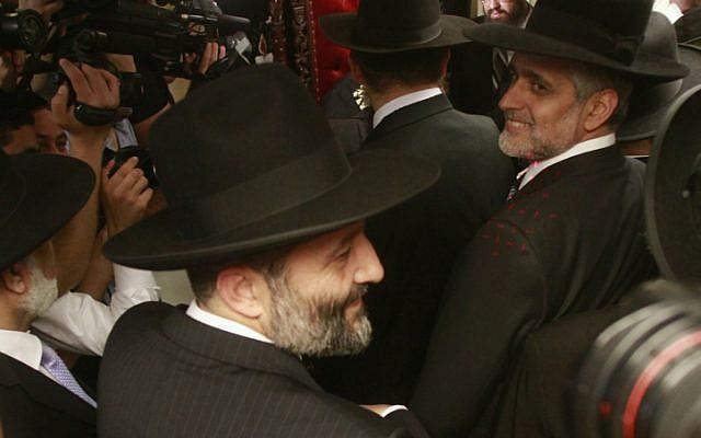 Shas party titans Eli Yishai (right) and Aryeh Deri (left) on October 14. (photo credit: Oren Nahshon/Flash90)