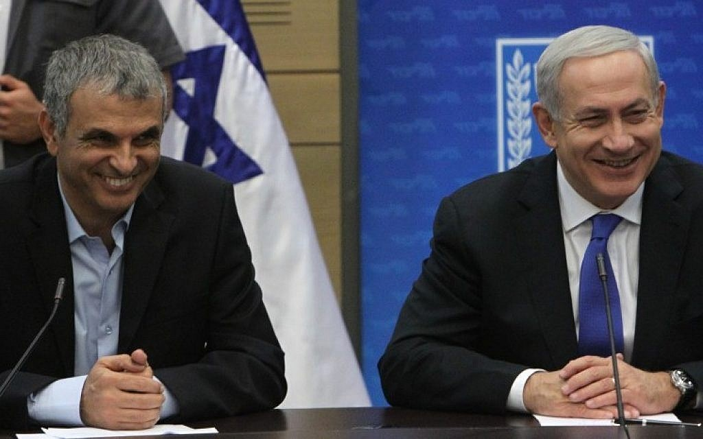 Minister of Communications Moshe Kahlon and Prime Minister Benjamin Netanyahu during a Likud committee meeting in the Knesset on October 15 (photo credit: Miriam Alster/FLASH90)