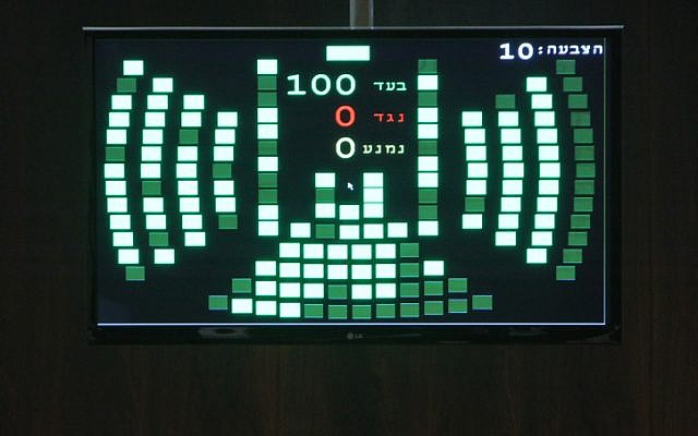 The Knesset's results board, showing 100 MKs voting in favor of dissolving the legislature and proceeding to early elections (photo credit: Miriam Alster/Flash90)