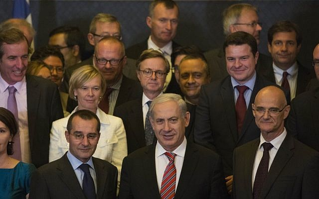 Prime Minister Benjamin Netanyahu (center) with EU diplomats in Jerusalem, October 16 (photo credit: Yonatan Sindel/Flash90)