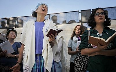 Members of the Women of the Wall organization pray at the Western Wall in Jerusalem on October 17, 2012 (photo credit: Miriam Alster/Flash90)