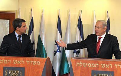 Prime Minister Benyamin Netanyahu meets with Bulgarian President Rosen Plevneliev as they meet at Netanyahu's office in Jerusalem on October 23 (photo credit: Moshe Milner/Flash90)