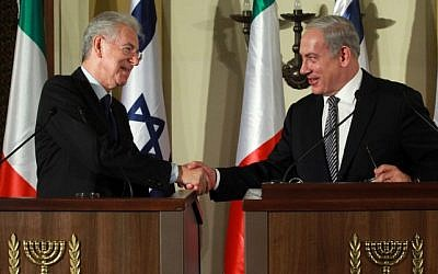 Prime Minister Benjamin Netanyahu (right) meets his counterpart Mario Monti in Jerusalem on October 25. (photo credit: Marc Israel Sellemn/Flash90)