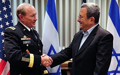 Defense Minister Ehud Barak, right, meets with Chairman of the US Joint Chiefs of Staff General Martin Dempsey in Tel Aviv on Sunday (photo credit: Ariel Hermoni/Defense Ministry/Flash90)