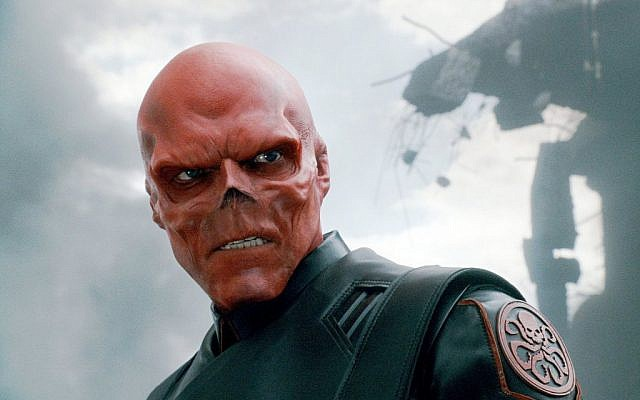 Hugo Weaving as the Red Skull in the 2011 movie Captain America: The First Avenger (photo credit: courtesy)