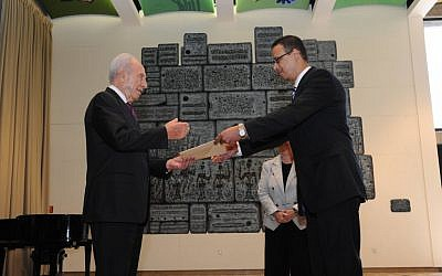 Ambassador Atef Salem submits his letter of credence to President Shimon Peres in October 2012. (photo credit: Mark Neiman/GPO)
