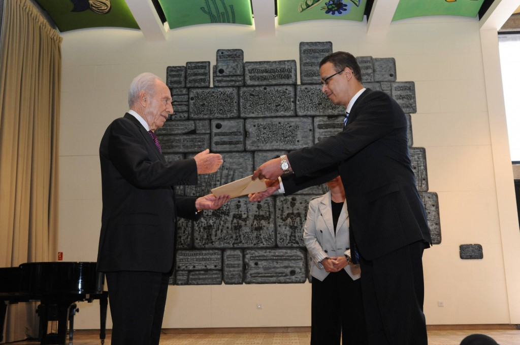 Ambassador Atef Salem submits his letter of credence to President Shimon Peres in October. (photo credit: Mark Neiman/GPO)