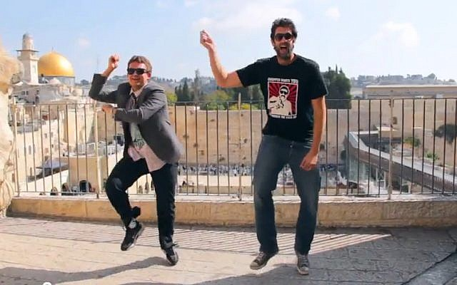 Dancing Gangnam Style opposite the Western Wall in Jerusalem's Old City (screen capture/YouTube)