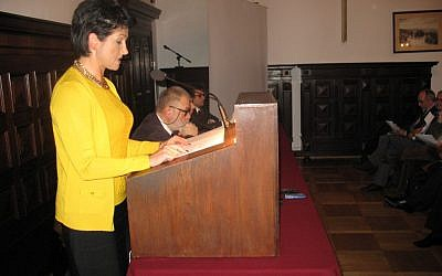 Polish deputy foreign minister Beata Stelmach addresses a Warsaw conference organized by Never Again, an organization dedicated to fighting Eastern European anti-Semitism and racism. (Photo credit: Nissan Tsur)