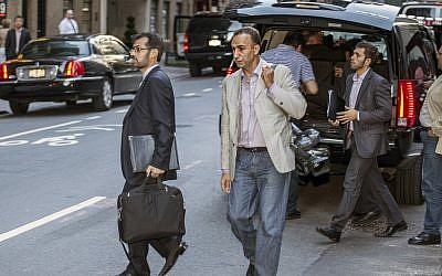 Hassan Gol Khanban with the Iranian delegation in New York last week. (photo credit: AP/Gary Krauss)