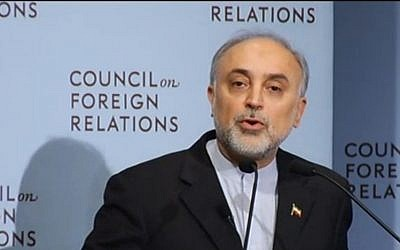Iranian nuclear head Ali Akbar Salehi speaks to the Council on Foreign Relations in New York in October 2012. (photo credit: CFR screenshot)