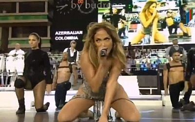 Jennifer Lopez performing at the FIFA Women's World Cup opening in Baku, Azerbaijan on September 22, 2012 (photo credit: Youtube screen capture)
