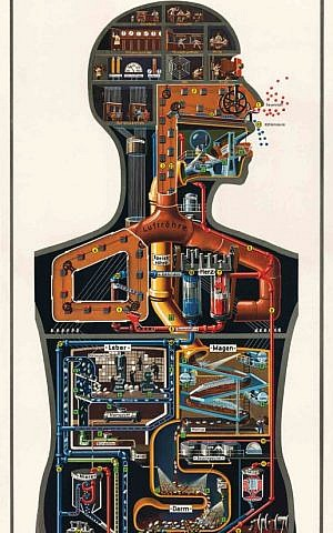 """Kahn's """"Man as Industrial Palace,"""" which portrayed the human body as a mechanized factory, has recently been displayed in museums in Berlin, New York and London. (Photo credit: fritz-kahn.com)"""