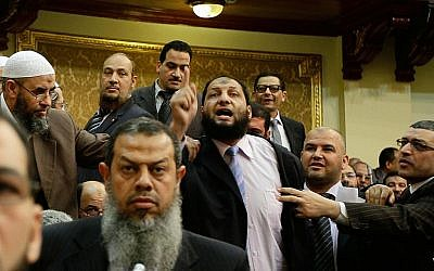 Salafi members of parliament in Cairo, February 27, 2012 (photo credit: AP)