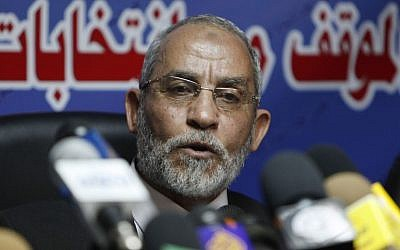 In this Saturday, Oct. 9, 2010 file photo, Mohammed Badie speaks during a press conference at the group's parliamentary office in Cairo, Egypt. (photo credit: AP)
