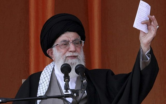 Iran's Supreme Leader Ayatollah Ali Khamenei speaks at a public gathering in the northeastern city of Bojnurd, Iran, in October. (photo credit: AP/Office of the Supreme Leader)