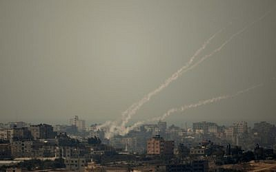 Smoke trails of rocket fired by Palestinian militants from Gaza Strip towards Israel in October 2012. (photo credit: AP/Ariel Schalit)