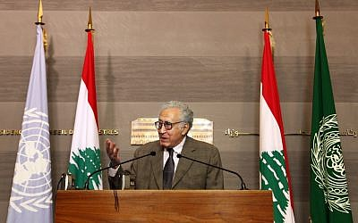 UN Arab League deputy to Syria, Lakhdar Brahimi, speaks during a press conference after meeting Lebanese Prime Minister Najib Mikati, at the government palace, in Beirut, Lebanon, Wednesday, Oct. 17, 2012. Brahimi is in Beirut to meet with Lebanese officials (photo credit: AP/Bilal Hussein)