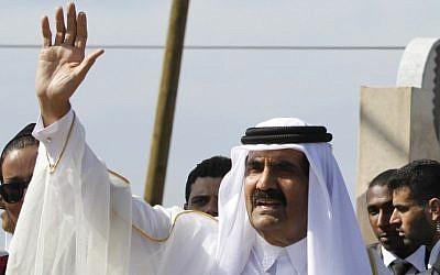Emir of Qatar Sheikh Hamad bin Khalifa al-Thani in Gaza City. (photo credit: (photo credit: AP/Hatem Moussa)