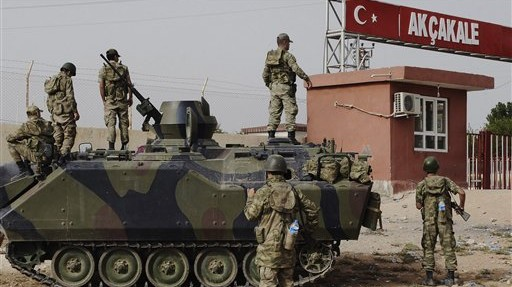 A Turkish military station at the border with Syria last month (photo credit: AP)