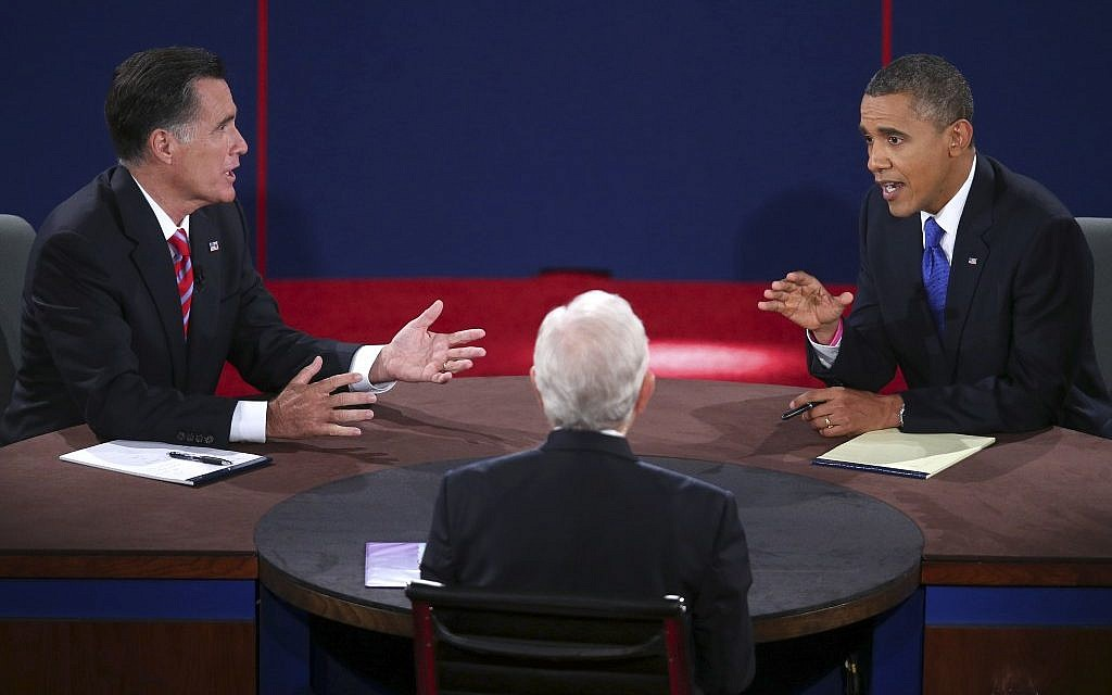 Republican presidential nominee Mitt Romney and President Barack Obama answer a question during the third presidential debate at Lynn University, Monday, Oct. 22, 2012, in Boca Raton, Fla. (photo credit: AP/Pool-Win McNamee)