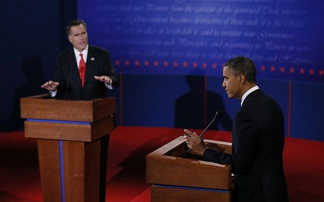 President Barack Obama and Republican presidential nominee Mitt Romney participate in the first presidential debate at the University of Denver, Wednesday, Oct. 3, 2012, in Denver. (photo credit: AP/ Rick Wilking)