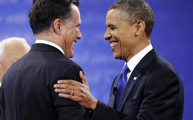 Republican presidential nominee Mitt Romney is greeted by President Barack Obama before the start of the third presidential debate, Monday, Oct. 22, 2012. (photo credit: AP/David Goldman)