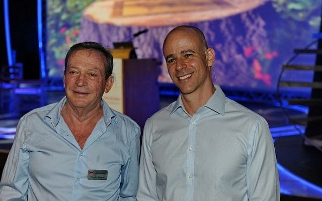 Yehuda Zisapel (L), founder and chairman of RAD Data Telecommunications, with Dror Bin, company President and CEO, at the annual RAD Data partners' meeting in Eilat (Photo credit: Courtesy)