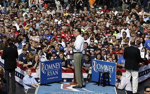 Republican presidential candidate and former Massachusetts Gov. Mitt Romney campaigns at Shawnee State University in Portsmouth, Ohio, Saturday, Oct. 13, 2012. (photo credit: AP/Charles Dharapak)