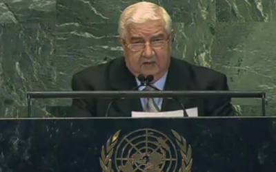 Syrian Foreign Minister Wallid al-Moallem speaks to the UN General Assembly on October 1 (photo credit: UNGA video screenshot)