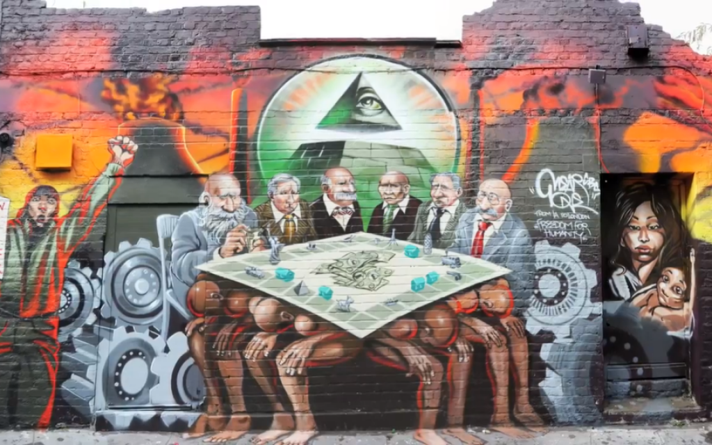 Kalen Ockerman's mural 'The Enemy of Humanity,' which uses anti-Semitic imagery. (photo credit: YouTube screen shot)