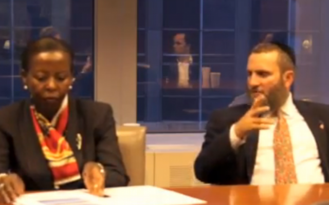 Rwanda's Foreign Minister Louise Mushikiwabo at a press conference in Eaglewood, New Jersey on Friday alongside Rabbi Shmuley Boteach (photo credit: YouTube screenshot)