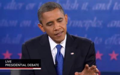 Barack Obama speaks in Monday's debate (photo credit: PBS screenshot)