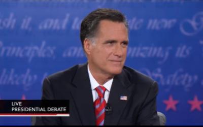 Mitt Romney in Monday's debate (photo credit: PBS SCreenshot)
