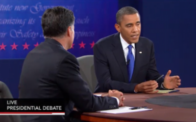 Mitt Romney and Barack Obama face off in Monday night's debate (photo credit: PBS screenshot)